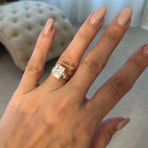Jewelry - 2.5 carat Radiant cut CZ 10k white gold ring sz 4